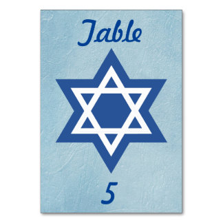Blue and White Star of David Card