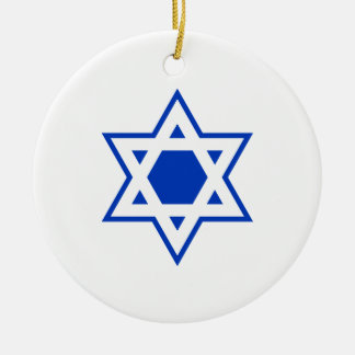 Blue and White Star of David Ceramic Ornament