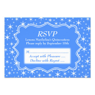 Blue and White Star Pattern Quinceanera Custom Invitations