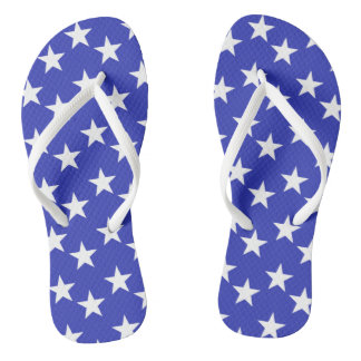 Blue and White Star Print Flip Flops