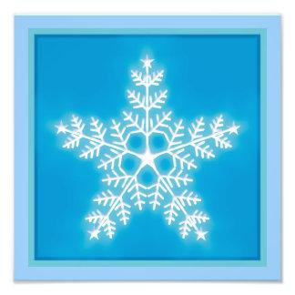 Blue and White Star Snowflake Photo Print