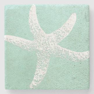 Blue and White Starfish Coaster Stone Beverage Coaster
