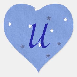 Blue and White Stars Monogram Stickers