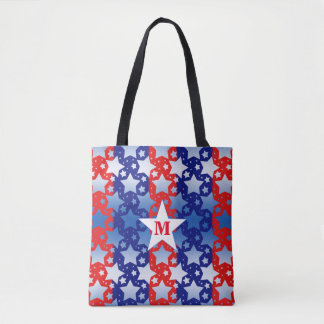 Blue and White Stars With Red Blue Stripes Tote Bag
