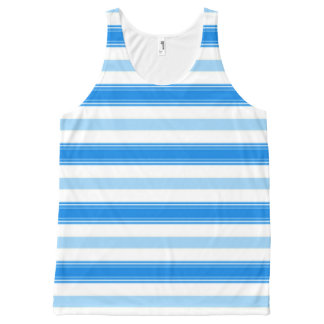 Blue and White Stripe All-Over Print Singlet