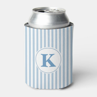 Blue and White Stripe Monogram Can Cooler
