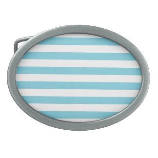 Blue and White Stripe Pattern Belt Buckles