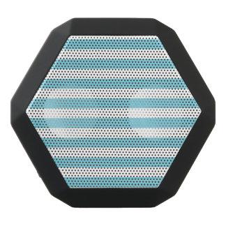 Blue and White Stripe Pattern Black Bluetooth Speaker
