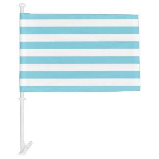 Blue and White Stripe Pattern Car Flag