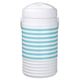 Blue and White Stripe Pattern Drinks Cooler
