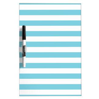 Blue and White Stripe Pattern Dry Erase Board