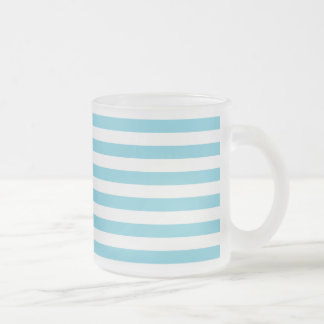 Blue and White Stripe Pattern Frosted Glass Coffee Mug