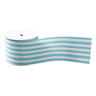 Blue and White Stripe Pattern Grosgrain Ribbon