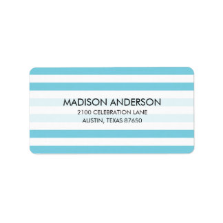 Blue and White Stripe Pattern Label