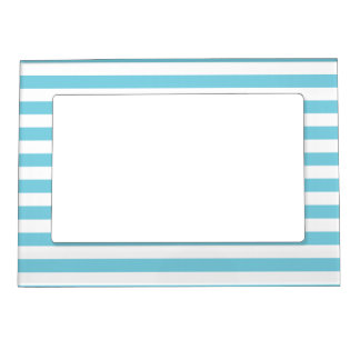 Blue and White Stripe Pattern Magnetic Frame