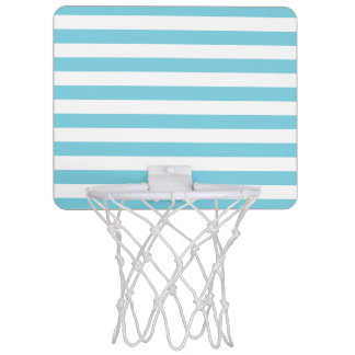 Blue and White Stripe Pattern Mini Basketball Hoop