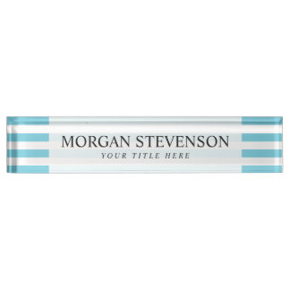 Blue and White Stripe Pattern Name Plate