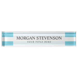 Blue and White Stripe Pattern Nameplate