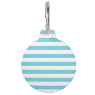 Blue and White Stripe Pattern Pet ID Tag