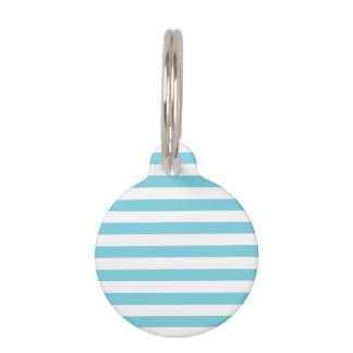 Blue and White Stripe Pattern Pet Name Tag