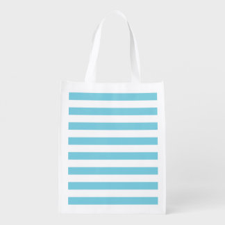 Blue and White Stripe Pattern Reusable Grocery Bag