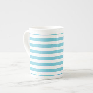 Blue and White Stripe Pattern Tea Cup