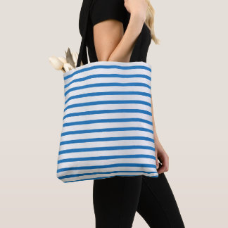 Blue and White Stripe Pattern Tote Bag
