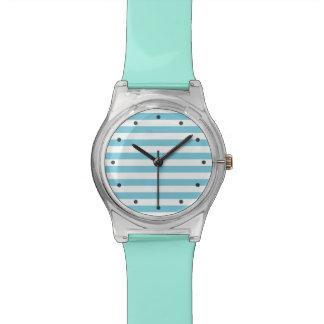 Blue and White Stripe Pattern Watch