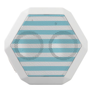 Blue and White Stripe Pattern White Bluetooth Speaker