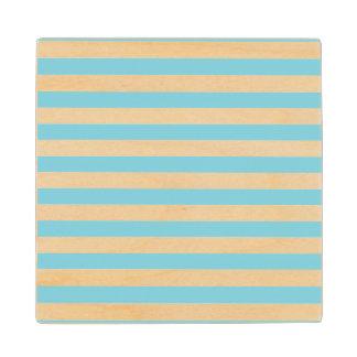 Blue and White Stripe Pattern Wood Coaster