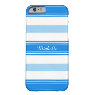 Blue and White Stripe Personalized Barely There iPhone 6 Case