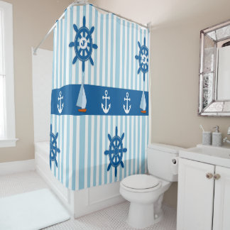 Blue and White Striped Beach Monogramed design. Shower Curtain