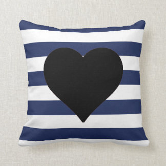 Blue and White Striped Black Heart Throw Pillow