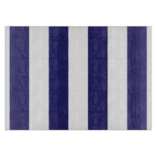 Blue and White Striped Glass Cutting Board