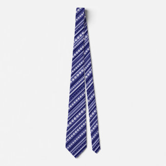 Blue-and-White Striped Paw Print Necktie