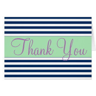 Blue and White Striped Thank You Card