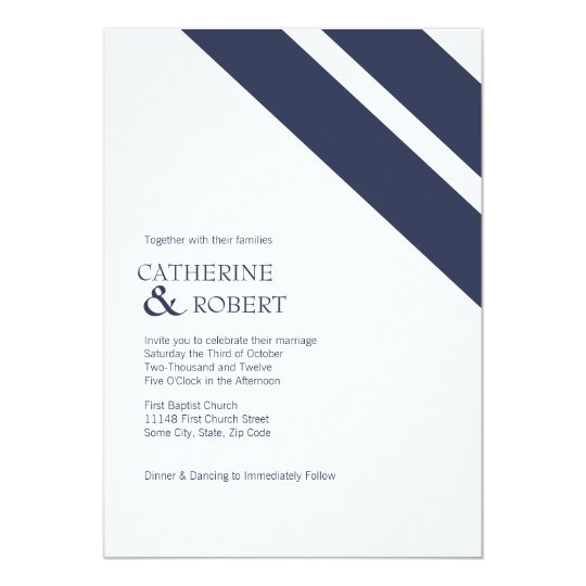 Blue and White Striped Wedding Invitation