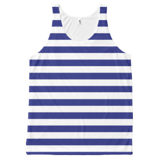 Blue and White Stripes All-Over Print Singlet