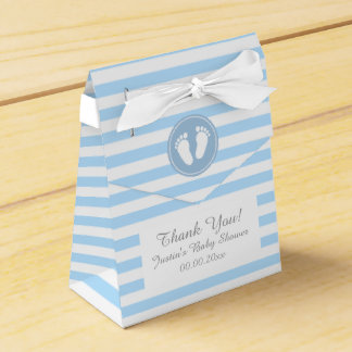 Blue and white stripes baby shower party favor box