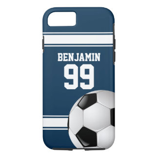 Blue and White Stripes Jersey Soccer Ball iPhone 8/7 Case