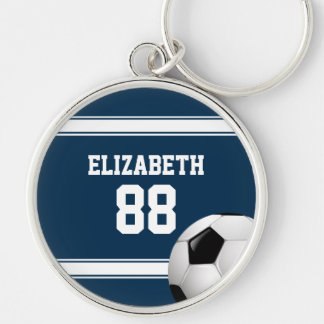 Blue and White Stripes Jersey Soccer Ball Silver-Colored Round Key Ring
