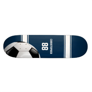Blue and White Stripes Jersey Soccer Ball Skate Board Deck