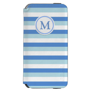 Blue and White stripes Monogram Incipio Watson™ iPhone 6 Wallet Case