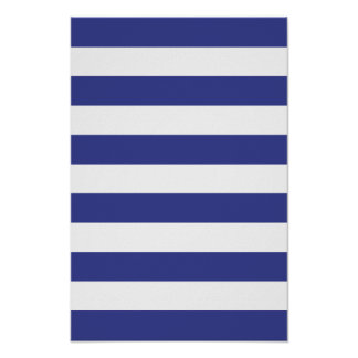 Blue and White Stripes Poster