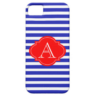 Blue And White Stripes, Red Monogram iPhone Case