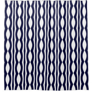 Blue And White Stripes Retro Pattern Shower Curtain