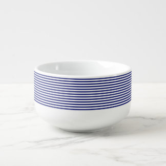Blue and White Stripes Soup Bowl With Handle