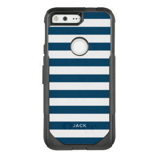 Blue and White Stripes With Custom Name OtterBox Commuter Google Pixel Case