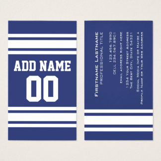 Blue and White Stripes with Name and Number