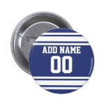 Blue and White Stripes with Name and Number 6 Cm Round Badge